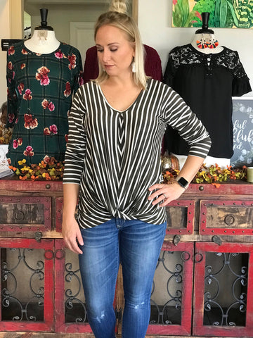 Olive Striped Knot Top