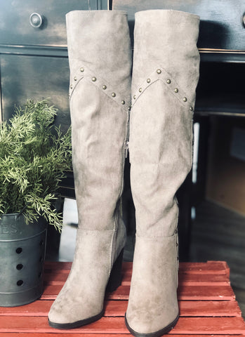 Taupe Studded Tall Boots