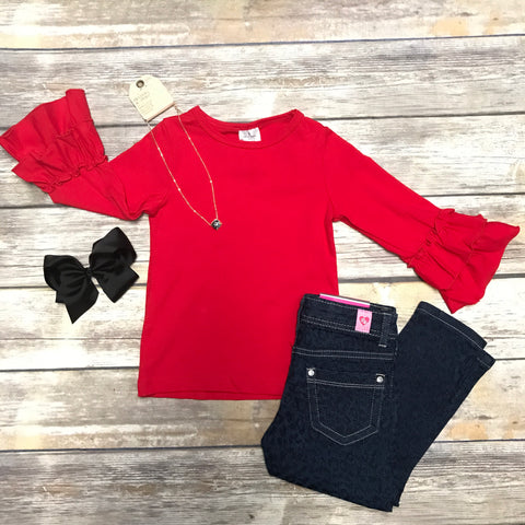 Radiant Red Ruffle Girls Top