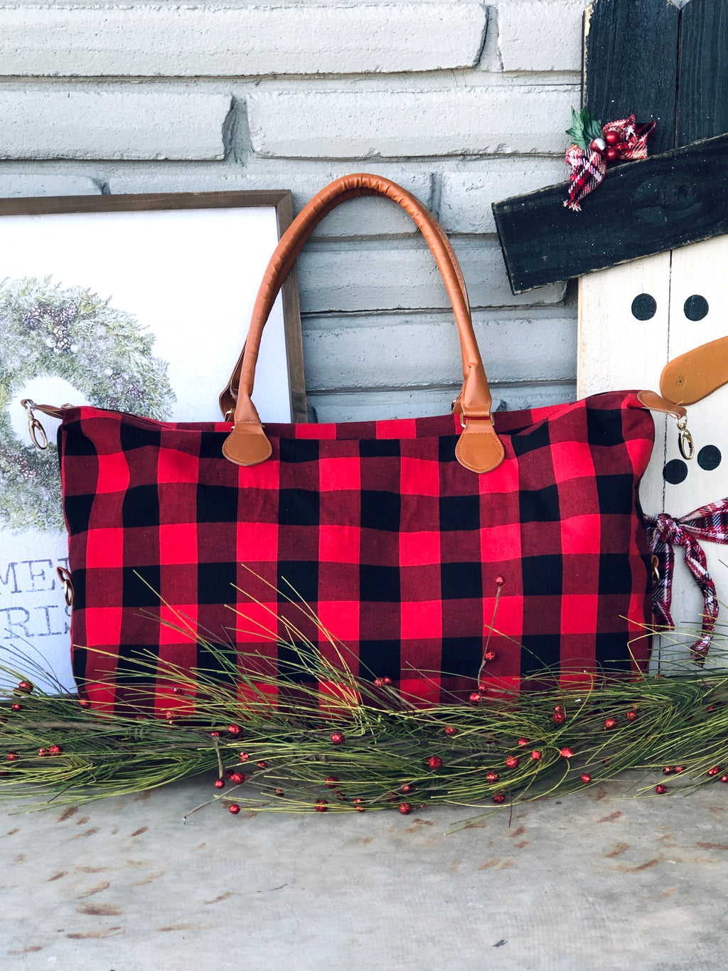 Buffalo Plaid Duffel Bag