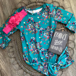 Teal Floral Baby Gown