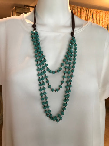 Turquoise Crystal Layered Beaded Necklace