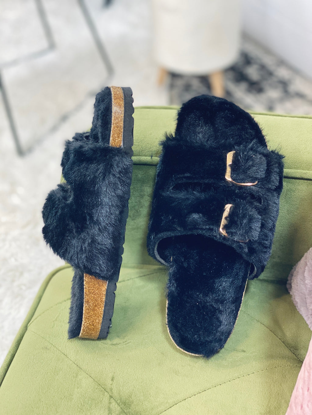 Black Fur Buckle Slides