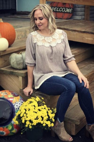 Mocha Floral Lace Ladies Tunic