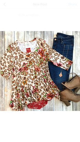 Floral & Leopard Plus Top w/ Lace