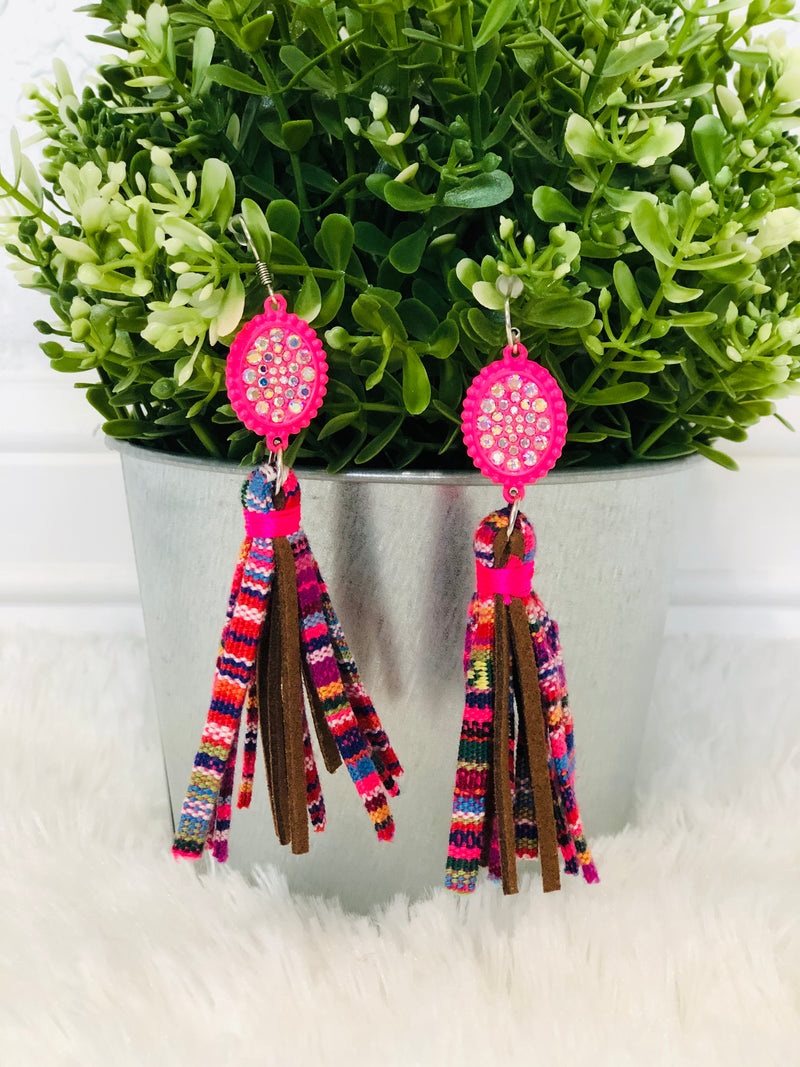 Blanket & Bling Earrings - Pink