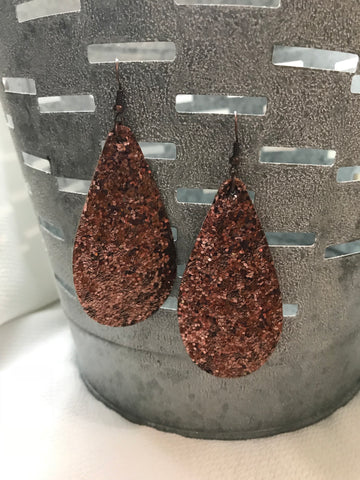 Rose Gold Glitter Tear Drop Earring
