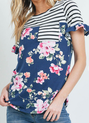 Navy Floral & Stripe Top
