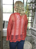 Cuter In Coral Crochet Top