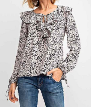 Cheetah Print Ruffle Top
