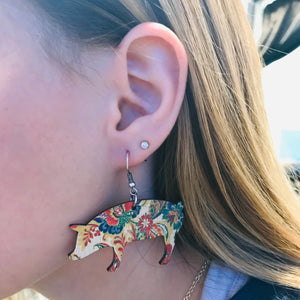 Wooden Pig Earrings