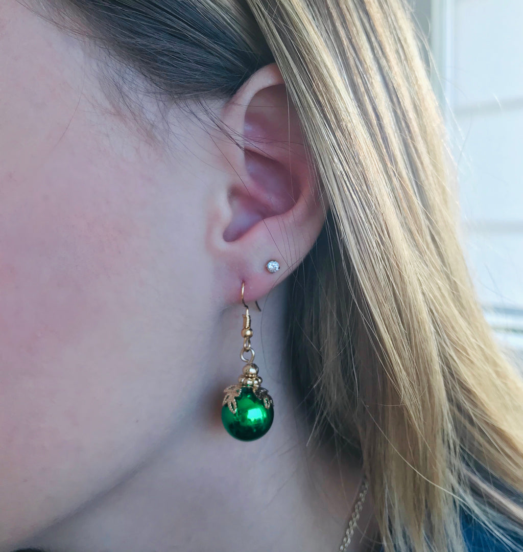 Green Ornament Earrings