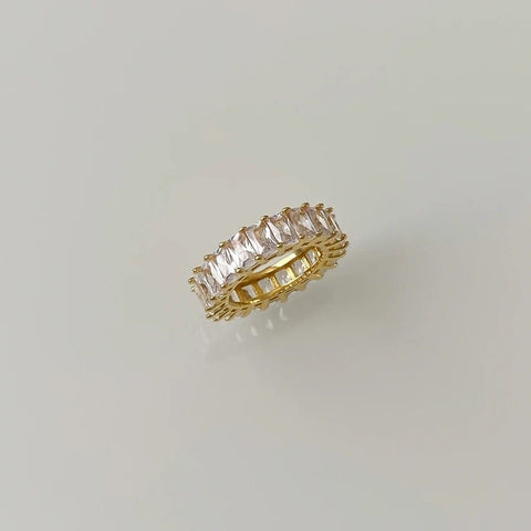 Twist CZ Baguette Layering Ring