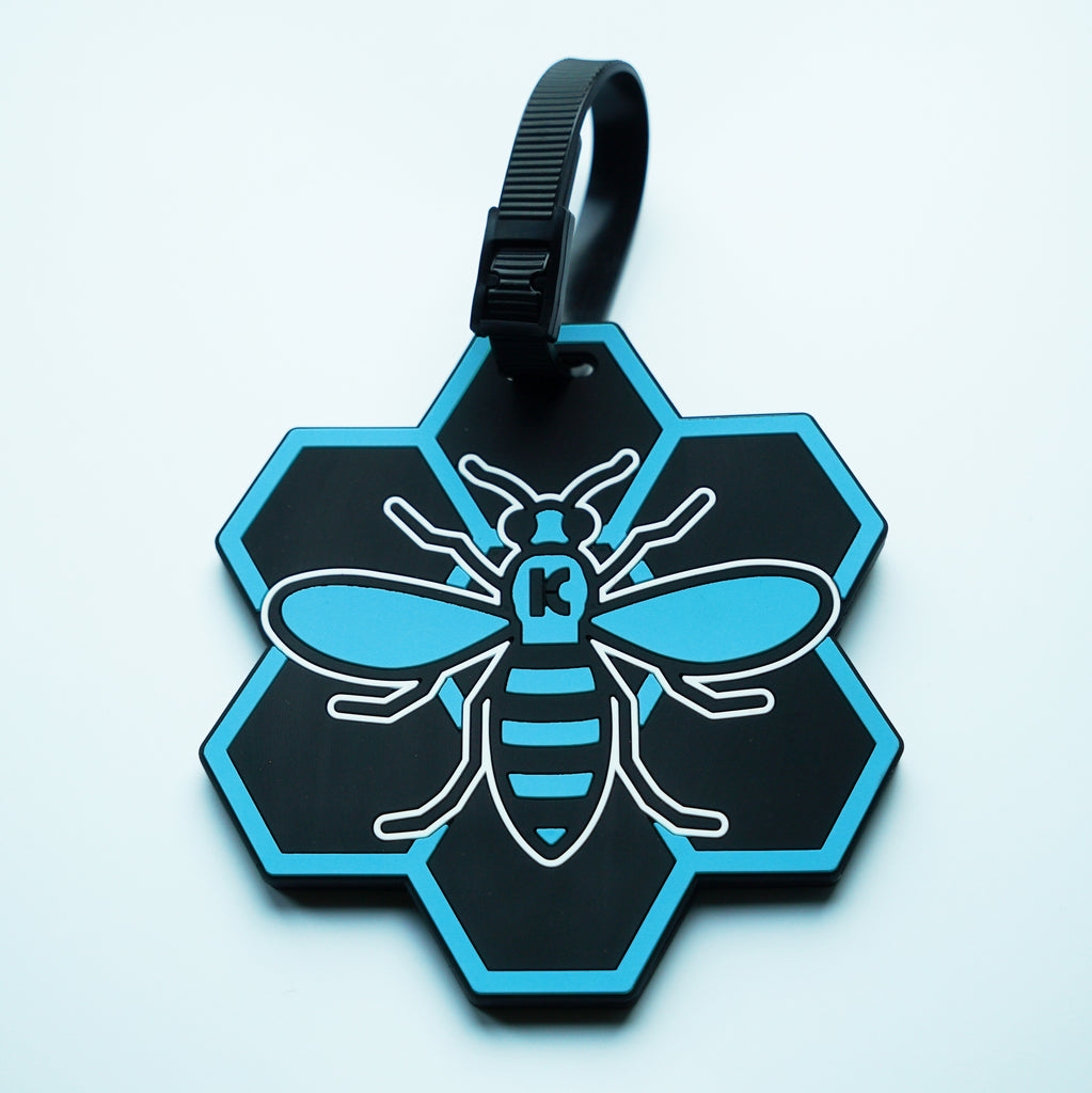 Blue MCR (Manchester) Bee Luggage Tag