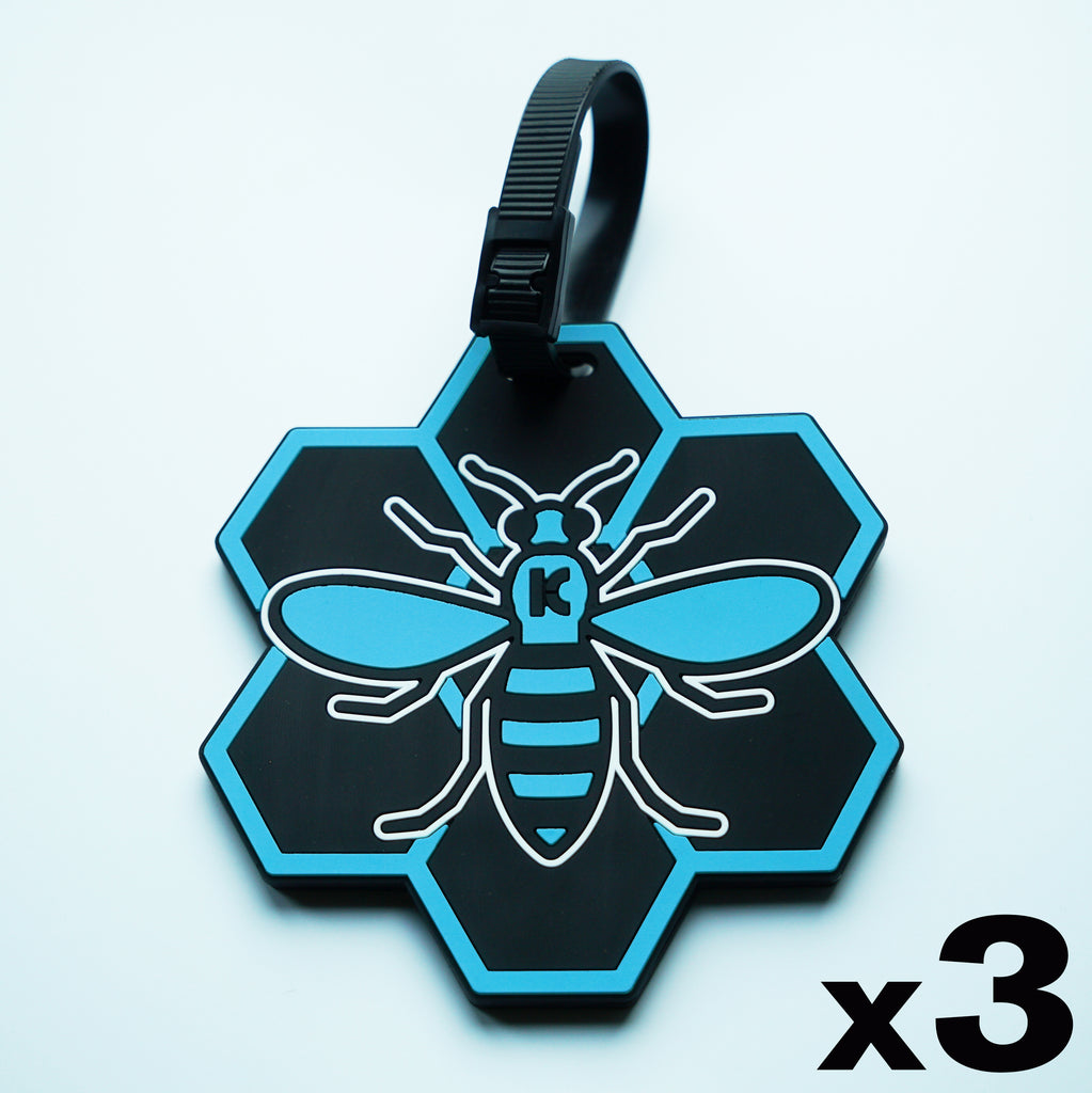 Blue MCR (Manchester) Bee Luggage Tag 3 Pack