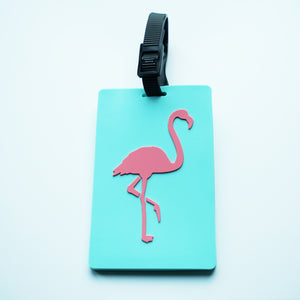 Aqua & Pink Flamingo Luggage Tag