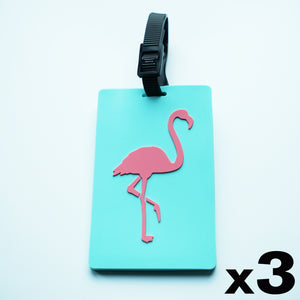 Aqua & Pink Flamingo Luggage Tag 3 Pack