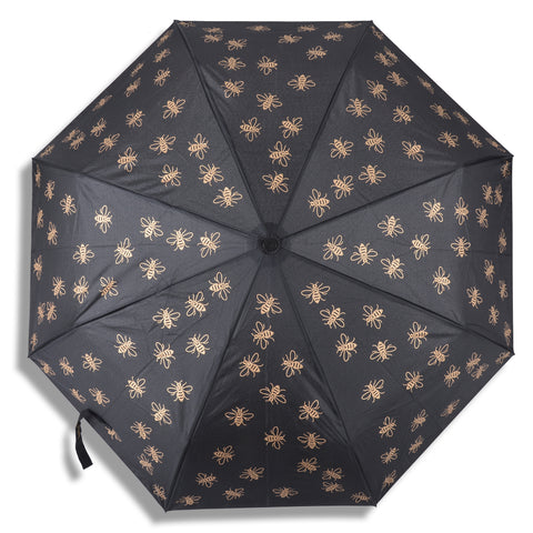"Compact Manchester Bee 21"" Umbrella - Black & Gold (INC DELIVERY)"