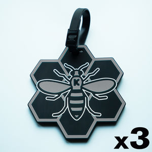 Grey MCR (Manchester) Bee Luggage Tag 3 Pack