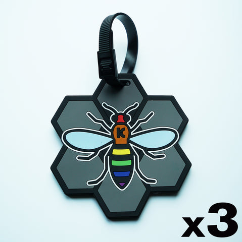 Image of Rainbow Bee Luggage Tag - 3 Pack