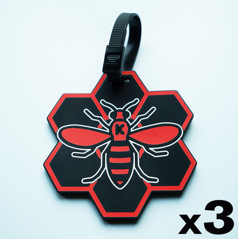 Red MCR (Manchester) Bee Luggage Tag - 3 pack