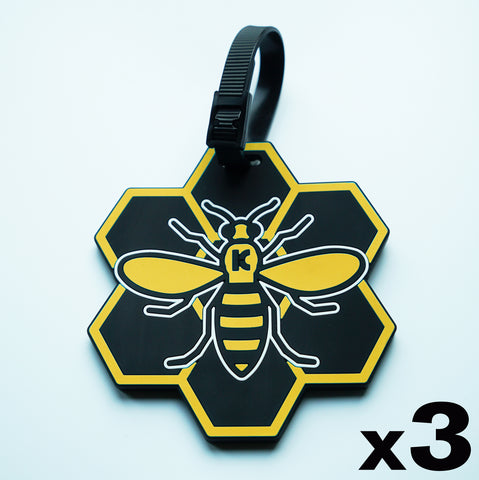 Yellow MCR (Manchester) Bee Luggage Tag - 3 pack