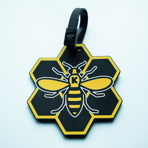 Yellow MCR (Manchester) Bee Luggage Tag