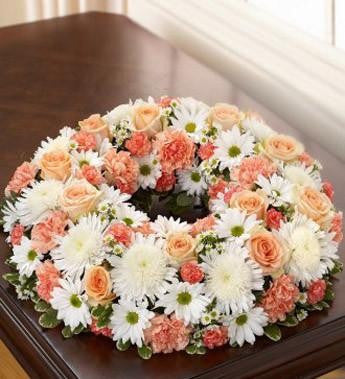 Cremation Wreath - Peach - Orange & White