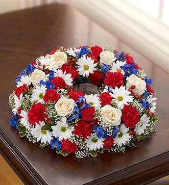 Cremation Wreath - Red - White & Blue