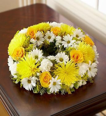 Cremation Wreath - Yellow & White