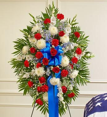 Deepest Sympathies Standing Spray - Red-White and Blue