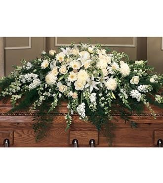 Full Casket Spray Styled in All White and Ivory Flowers