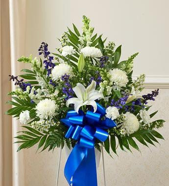 Heartfelt Sympathies Standing Basket – Blue & White