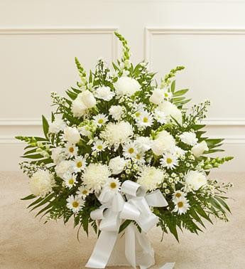 Heartfelt Tribute Floor Basket - White