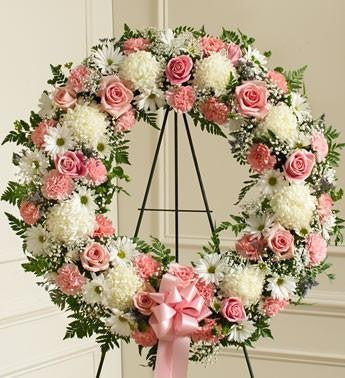 Serene Blessings Standing Wreath Bright - Pink & White | FNWP-119