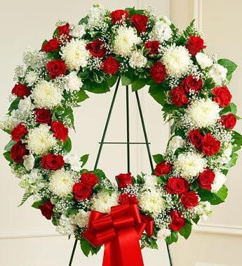 Serene Blessings Standing Wreath Bright - Red & White | FNR-119