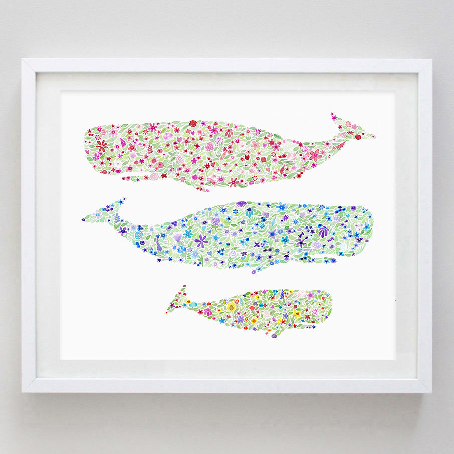 art print - whales floral watercolor print - carly rae studio