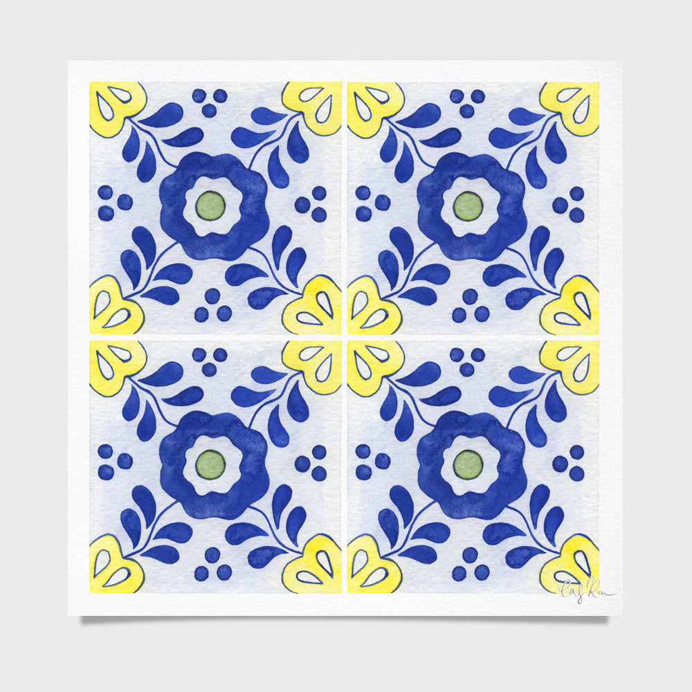 Tile #3 Pattern Watercolor Print