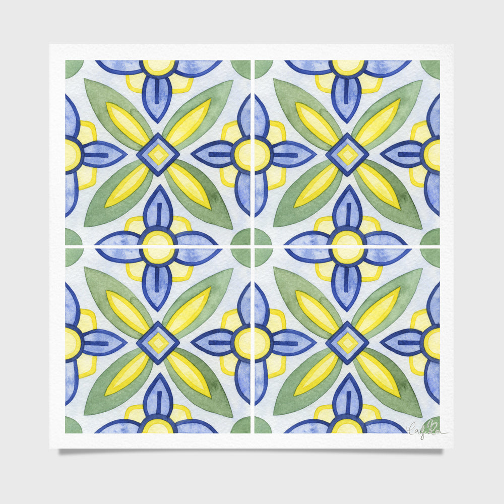 Tile #4 Pattern Watercolor Print