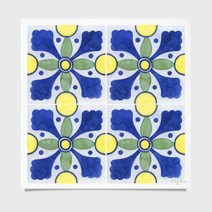 Tile #5 Pattern Watercolor Print