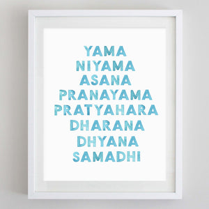 Eight Limbs of Yoga Watercolor Print