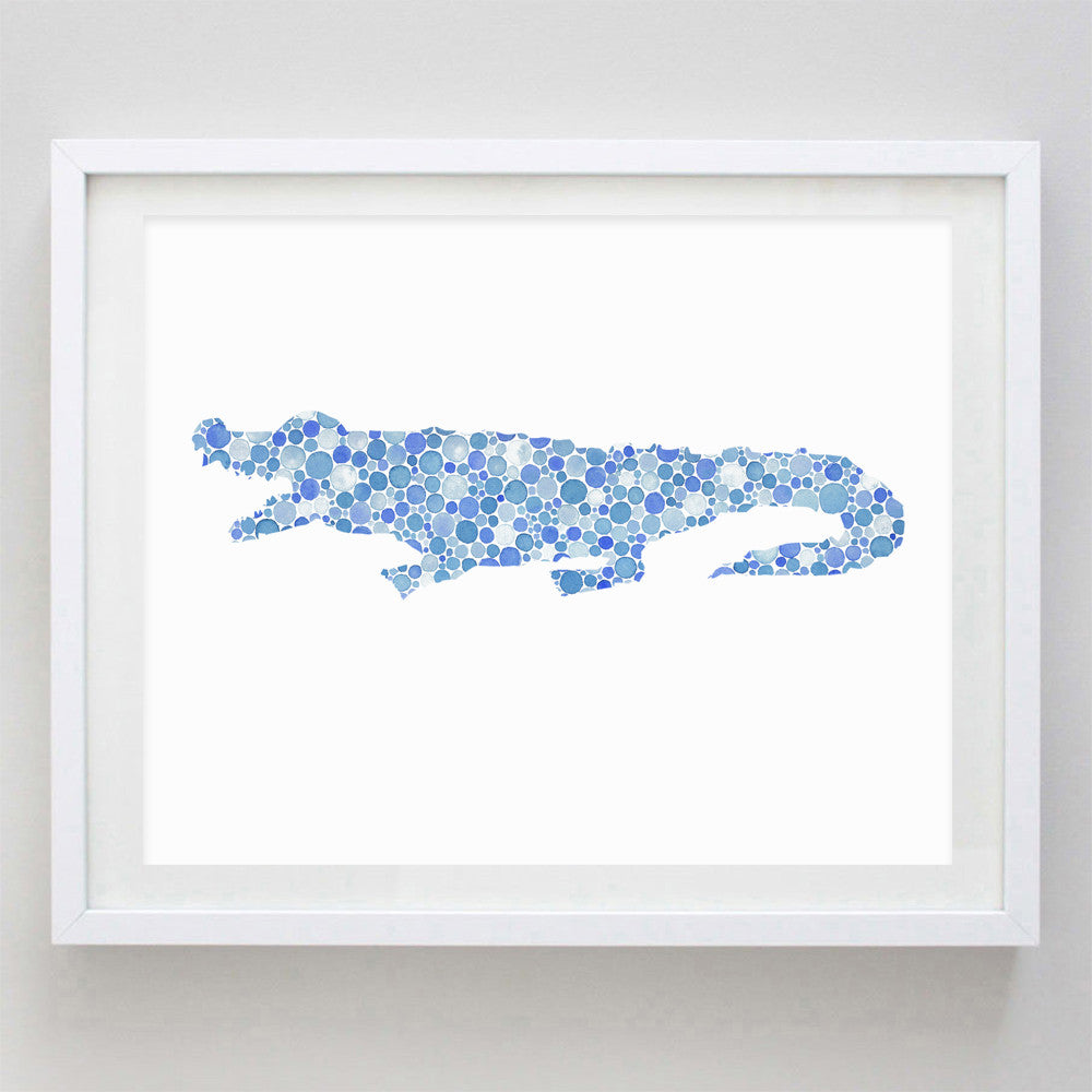 art print - blue alligator watercolor print - carly rae studio