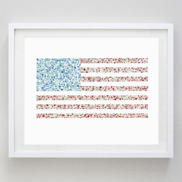 American Flag Floral Watercolor Print