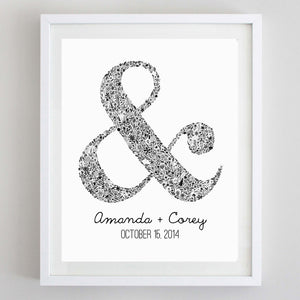 art print - custom ampersand floral watercolor print - carly rae studio