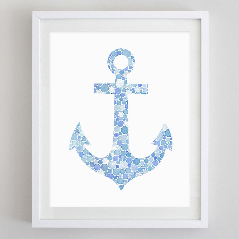 art print - blue anchor watercolor print - carly rae studio