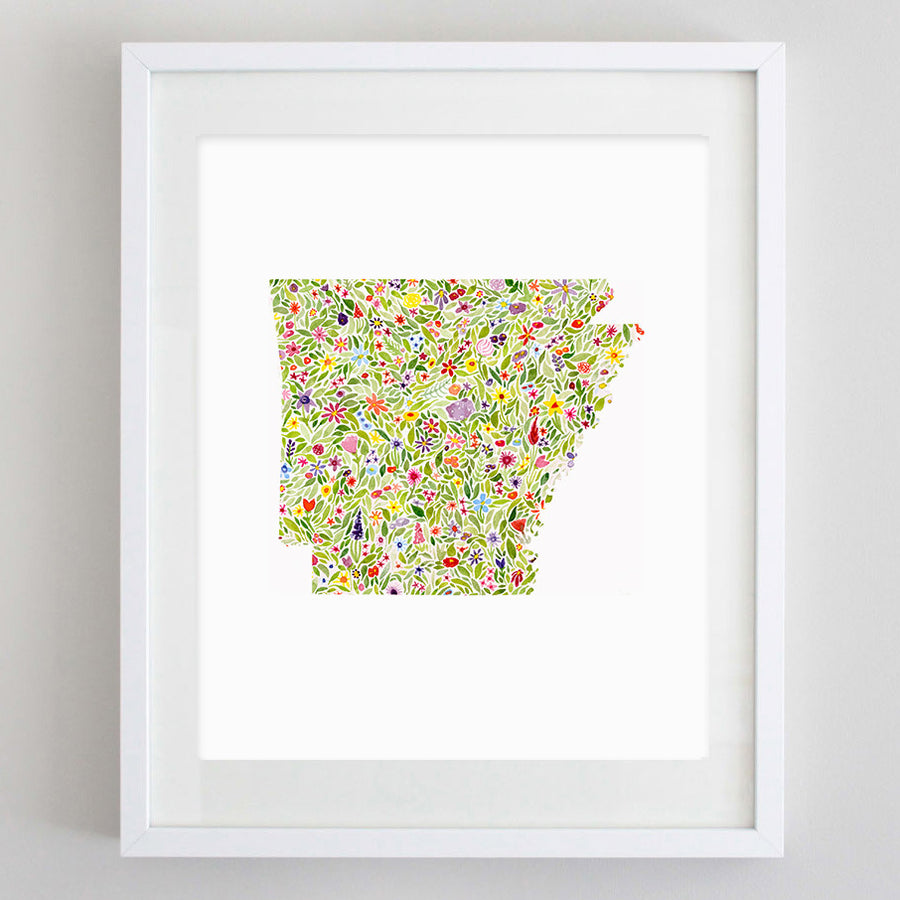 art print - arkansas floral watercolor print - carly rae studio