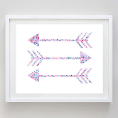 Arrows Floral Watercolor Art Print - Pi Beta Phi