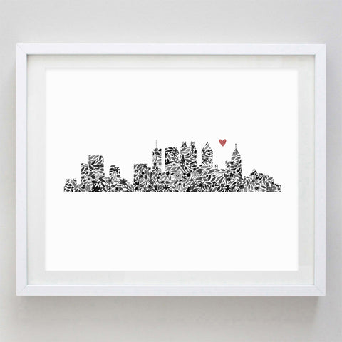 Atlanta Skyline Floral Watercolor Print