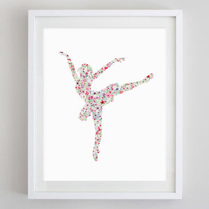 Ballerina 3 Floral Watercolor Print