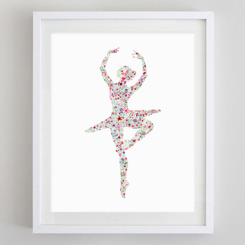 Ballerina 1 Floral Watercolor Print